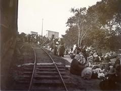 Refugees at Merebank Station, c.1901.