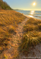 Lake Michigan ... pathway to the sun (Ken Scott) Tags: sunset usa beach grass michigan lakemichigan greatlakes trail sunburst freshwater voted leelanau pyramidpoint sleepingbearbay backpage sbdnl sleepingbeardunenationallakeshore mostbeautifulplaceinamerica
