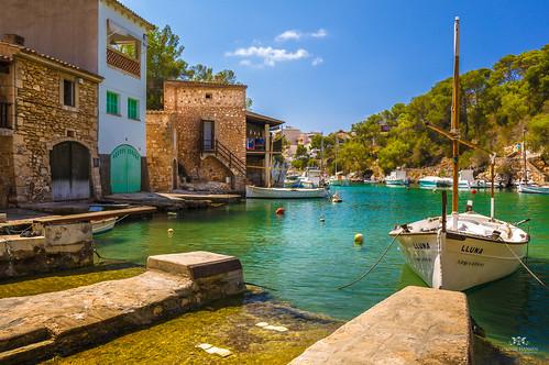 Boat and scenery in Cala Figuera, Mallorca (Spain)