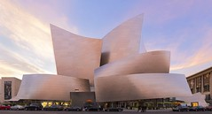 Disney Concert Hall Sunset (josullivan.59) Tags: california travel pink light sunset panorama usa southwest reflection texture weather architecture evening losangeles downtown day unitedstates contemporary landmark gehry disneyconcerthall 2015 nicelight 3exp canon6d