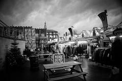 342/366 Norwich Market @Christmas (denise.ferley) Tags: norwich norwichmarket city citylife christmaslights christmas christmastree marketlife bw blackandwhitephotography streetphotography street sonynex5 shopping shoppers sitting life england 3662016 366 oneaday