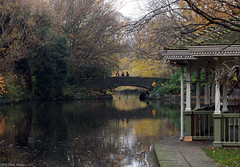 St Stephen's Green (peterphotographic) Tags: pc020018edwm ststephensgreen ol dublin eire ireland europe city cityscape urban park lake pond green tree autumn winter bridge bandstand