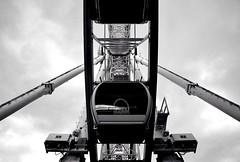 Under the Wheel (rustyruth1959) Tags: nikon nikond3200 tamron16300mm merseyside liverpool liverpoolwheel wheel metal monochrome bw outdoor blackandwhite sky gondola pod ride symmetry keelwharf structure