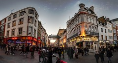 London Chinatown HDR panorama (Zygios) Tags: london capital city architecture buildings street chinatown gates sky hdr hdrpanorama panorama people crossroad cross outdoor