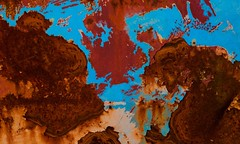 Abstract (StephenReed) Tags: abstract art abstractart metal rust paint chippedpaint blue map coastline nikond3300 stephenreed