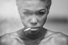 mental light (polo.d) Tags: portrait monochrome black white drama details asian thai girl woman beauty face close up cigarette smoke eyes look shadows