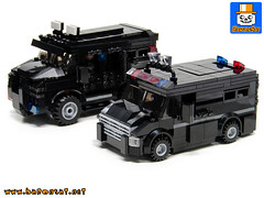 SWAT VEHICLES 01 (baronsat) Tags: lego swat vehicles truck van armed tactics heavy weapon special team police armored moc custom model instructions