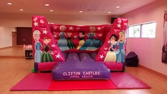 15x12 low height Princess themed bouncy castle for indoors. £55 per hire.