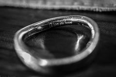 Our Little Secret (explored) (Majime-SPN) Tags: madeofmetal macromondays ring marriage love engraving message metal black white blackandwhite monochrome macro micro microlens nikon