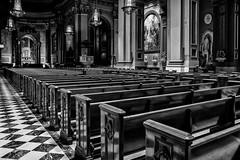 On a busy day... (mehtasunil) Tags: city travel blackandwhite philadelphia church architecture cathedral pa fujifilm philly houseofgod cathedralbasilicaofsaintspeterandpaul fujifilmxe1