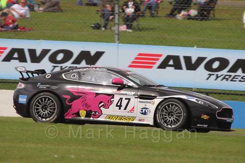 The JWB Motorsport Aston Martin V8 Vantage GT4 of Jake Giddings and Kieran Griffin in British GT Racing at Donington, September 2015