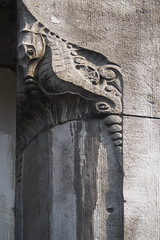 Poor horsey (Djaron van Beek - Hello! Im back again :-)) Tags: facade seahorse animal carvedout decorative urban old architectural madein1904 artistrienhack amsterdam ornament stylistic angle detailarounddoor freestone artnouveau sculpture weathered grey sadlooking curves architecture outerwall monochrome texture material upward fish shiny painteddoor notreallytruetonature expression aesthetic 1000faves djaron djaronvanbeek