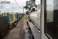 Cab view from A2 986 at Newport Workshop. (Australian Trains) Tags: railroad train photography track power photos transport australian tracks engine rail railway loco trains class corey transportation locomotive gibson broad railways gauge freight locomotives railroads railpage