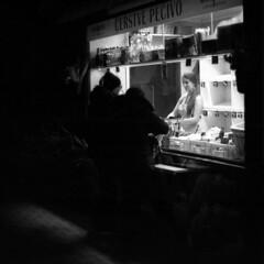 Praktica BC1 - At the Bakery Stand (Kojotisko) Tags: bw tmax streetphotography brno creativecommons czechrepublic streetphoto kodaktmax prakticabc1 kodaktmaxtmy400 prakticar118f50mm
