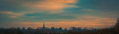 Spire in pastels (Coisroux) Tags: pastel tones blues pinks softness calm spire church tower rural horizon d5500 colourful dusk atmospheric hues sunsets distance silhouette england cambridgeshire treelines outline turquoise nikon hazy dream january2017 subtle