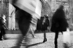Take me to church. Rouen. (Sean Hartwell Photography) Tags: rouen cathedral normandy france people movement human traffic padestrians walking blackandwhite monochrome