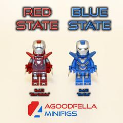 Red State Blue State [MOC] [MOD] (agoodfella minifigs) Tags: lego marvel marvellego legomarvel minifigures marvelcomics comics heroes legosuperheroes legomarvelsuperheroes legoavengers minifigure moc mod marvelheroes ironman tonystark silvercenturion bluesteel