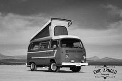 Black and White Monday #52 (Eric Arnold Photography) Tags: blakandwhitemonday blackandwhite black white monday bw blackwhite vw volkswagne bus camper van transporter 1977 77 westy westfalia poptop stripes feature shoot photoshoot dry lake bed jean nv nevada outdoors canon