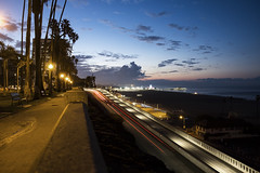 california incline (rappensuncle) Tags: color night longexposure californiaincline rappensuncle santamonica pier ocean water morning park walkway lighting streetlights nobody street city sunrise clouds sky storm palms