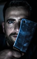 Wendy? (la_peppy) Tags: portrait male dark eyes 50mm nikon darkness eye beard night steel knife light
