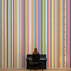 Imaginary Symphony (Paul Brouns) Tags: exhibition museum martin creed wall piano music mural lines color colour colorful hague wassenaar voorlinden emptyvoorlindencreed architecture interior design performance musician pianist square paulbrouns paulbrounscom paul brouns