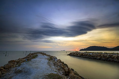 PDL in long exposure (<Pirate>) Tags: sunst permatang damar laut february 7th 2017 pdl sunset colors sea aeroplane malindo air landing low tide boat wooden hut waves barrier breaker rays master filter gnd4 hard haida ng30 canon 1018 is stm bayan lepas penang wonderful nature long exposure