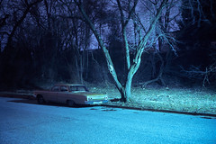 (patrickjoust) Tags: annearundelcounty baltimore maryland gold car trees suburb fujicagw690 fujichromet64 6x9 medium format 120 rangefinder 90mm f35 fujinon lens fuji chrome slide e6 color reversal expired discontinued tungsten balanced film cable release tripod long exposure night after dark manual focus analog mechanical patrick joust patrickjoust md usa us united states north america estados unidos autaut blue auto automobile vehicle parked tree woods suburban