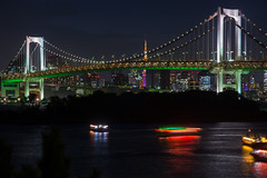Bahía de Tokyo, Odaiba (Japón Entre Amigos) Tags: night tokyo noche tormenta odaiba rainbowbridge bahía