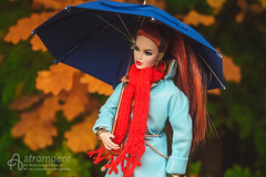 Nicole with umbrella (astramaore) Tags: blue autumn fall leaves fashion yellow scarf umbrella toy high oak doll erin coat redhead agency 16 envy royalty nuface ~lovephotography~
