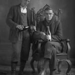 Two men drinking beer in Renaud's studio, Sainte-Agathe, Quebec, 1920–1932 / Deux hommes buvant de la bière dans le studio Renaud, Sainte-Agathe, Québec, 1920–1932 thumbnail