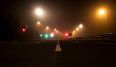 (leighbeta) Tags: road street nightphotography autumn fog wales night canon lights trafficlight october traffic foggy cardigan aberteifi 500d