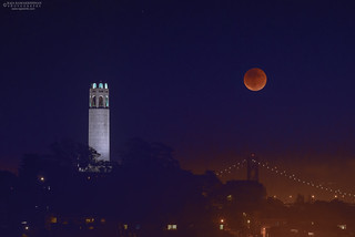 Supermoon over Coit Tower