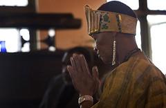 Woman prays at the Gospel Church in Santa Barbara, California