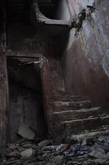 _DSC0038 (_trashart) Tags: door red france broken rouge nikon zoom lumire over staircase end escalier abandonned derilict pyrnes 18105 cass abandonn hrault dbris nikond90 bagoft