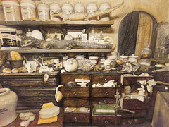 The Sorcerer's Storeroom (Steve Taylor (Photography)) Tags: wood portrait brown art wool monochrome strange face yellow digital skull weird wooden bottle soap cabinet starfish alligator cream picture eerie frog deer shelf odd scales toad drawer crocodile jar balance urchin pufferfish weighing lotion asti lumbago monocolor monocolour absorbant