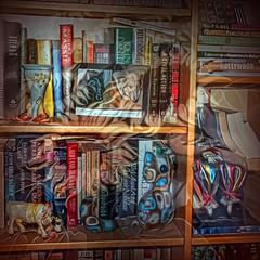 Burgeoning Bookshelf (Karen Kleis (Back Sunday!)) Tags: photomanipulation digitalart books bookshelf stuff hypothetical artdigital arteffects trolled sharingart netartii