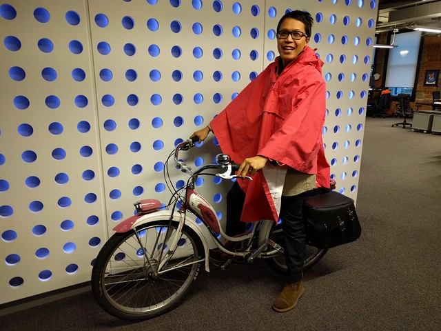 The Cape Macey cape isn't pink enough to match my 1957 pink schwinn but it's close! Thanks @LeVelo_Victoria for stocking cool stuff!  IMG_20151203_154741