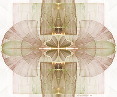 Daphanous (CopperScaleDragon) Tags: brown white abstract green gold fan fractal sconce clover jwildfire