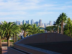 San Diego downtown view from hotel room (d1pinklady) Tags: california ca city bridge buildings san kissing downtown cityscape view sandiego diego nurse sailor coronado