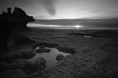 Toward the sun (Billie_1209) Tags: ocean longexposure sunset blackandwhite bw seascape beach water landscape rocks morningtonpeninsula blairgowrie bridgewaterbay nikond800 nikkor1635mmf4 melbournephotographyexcursions
