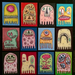 Ghosts (pickledpunk) Tags: atc skull weird outsiderart aceo undead monsters artbrut ectoplasm microbe lowbrowart gelatinous monsterart marcdamicis