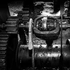 Gear (Haddraniel) Tags: gear black white cogs enjine old grease beach winch blackandwhite bw texture