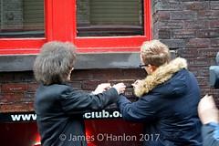 Putting the brick into place (James O'Hanlon) Tags: gilbert osullivan gilbertosullivan sullivan brick plaque cavern club pub mathew st award ceremony liverpool mathewst matthewst walloffame wall fame