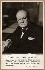 Winston Churchill postcard (1941) (The Wright Archive) Tags: prime minister winston churchill vintage postcard world war ii wwii 1941 raphael tuck tuck's portrait photograph j russell sons baker street liftupyourhearts speech allied delegates st jamess place london uk 12 june secondworldwar politics politician political english history twentieth century real photo black white bow tie bald head suit wright archive rppc 1940s