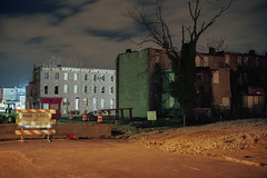 (patrickjoust) Tags: middleeast baltimore maryland ebdi johnshopkins deconstruction rowhouse roadclosed fujicagw690 kodakektar100 6x9 medium format 120 rangefinder 90mm f35 fujinon lens kodak c41 color film cable release tripod long exposure night after dark manual focus analog mechanical patrick joust patrickjoust east md usa us united states north america estados unidos autaut urban street city road closed tree construction zone