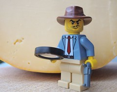Who put the holes in the cheese? (captain_joe) Tags: macromondays saycheese cheese käse gouda toy spielzeug 365toyproject lego minifigure minifig acebrickman