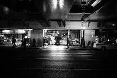 Asphalt (hidesax) Tags: asphalt night street nightscape cityscape parking lot passersby reflections car front light hidesax sony a7ii voigtlander 40mm f14