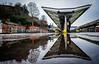 Shrewsbury (Peter Leigh50) Tags: shrewsbury dmu puddle reflection rain station railway