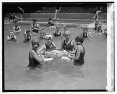 Ladies playing Ma Jong in the pool (kevin63) Tags: lightner photo blackandwhite vintage antique old twenties 20sflapper majong game pool swimming bathingsuits women group