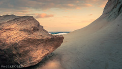 Qbajjar Bay (StevyVee) Tags: sunrise winter pans reflection fall orange sea saltpans morning blue salt dusk golden dawn malta red longexposure sunset landscape gozo